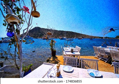Lovely sea side restaurant oil painting from beautiful tourism city Bodrum