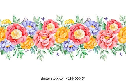 Lovely seamless repeat border  with peony,rose,leaves,flowers,branches and berries.Watercolor bouquets for your design.Perfect for wedding,invitations,blogs,template card,Birthday,wallpapers,greeting.