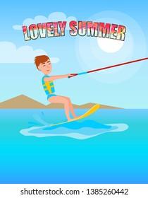 Lovely summer best summertime poster kitesurfing smiling boy young guy standing on board holding rope raster kitesurf at coastline kite surfer.