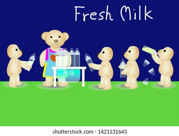 Lovely teddy bear are queuing to receive a bottle of fresh milk The abstract picture for wallpaper, fabric print, cloth texture, illustration.