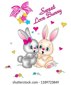 Lovely two rabbit with around pink ribbons, colorful hearts, stars and texts. JPEG format.