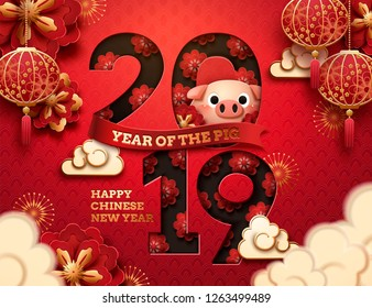 Lovely year of the pig design with plum flower and scale background