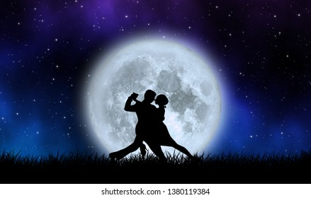 Lover dance with the full moon on grass field under beautiful starry night illustration concept design background. Element of this image furnished by NASA.