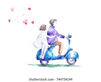 Lovers boy and a girl on a scooter. Love cards.