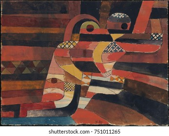 LOVERS, by Paul Klee, 1920, Swiss drawing, gouache and graphite on paper. Cubist abstraction of lovers on a patterned ground