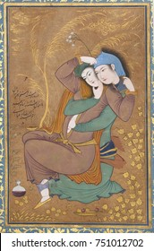 THE LOVERS, by Riza-yi Abbasi, 1630, Persian painting, opaque watercolor, ink, gold on paper. Miniature of lovers painted in Isfahan, during the reign of Shah Safi of Irans Safavid dynasty. The couple