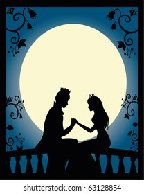 lovers on a balcony at night (vector is available in my portfolio)