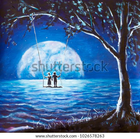 Lovers Ride On Swing Male Man And Girl Woman Against Background Of Big Moon