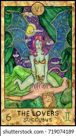 Lovers. Succubus. Fantasy Creatures Tarot full deck. Major arcana. Hand drawn graphic illustration, engraved colorful painting with occult symbols