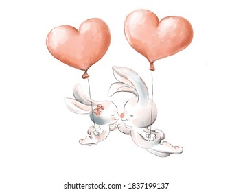 loving bunnies fly on pink balls-hearts holding hands and closing their eyes