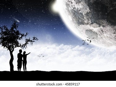 Loving couple in front of amazing landscape - Valentines day card