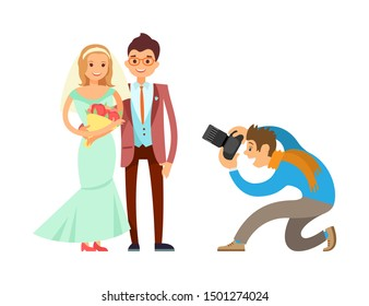 Loving couple on wedding, bride and groom and cameraman raster isolated. Photographer or videographer taking photo reportage of engagement ceremony