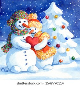 A loving couple of snowmen. Snowman and Snow-woman with snowy Christmas tree background. Hand drawing painted watercolor love card. February 14 is Valentine's Day. Winter holidays lovely red heart.
