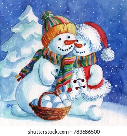A loving couple of snowmen. Snowman and Snow-woman with snow forest background. Hand drawing painted watercolor love card. February 14 is Valentine's Day.  Winter holidays sale banner.  Food basket.