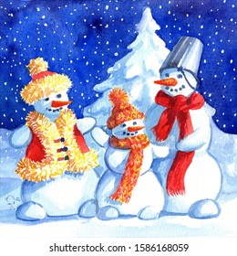 A loving snowman family with child. Father, mother and child on snowy forest background. Hand drawing watercolor paints card.  Family values banner. Starlight Night Christmas winter fairy tale.