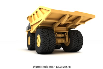 Low angle rear view of the huge empty mining dump truck isolated on white background. Wide angle. 3d illustration.