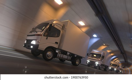 Low Angle View of a Box Truck Convoy Moving Inside an Illuminated Tunnel 3D Rendering