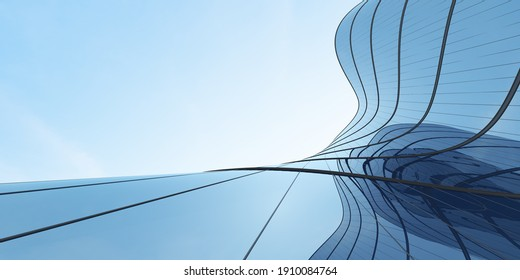 Low angle view of futuristic architecture, Skyscraper of office building with curve glass window, 3D rendering.