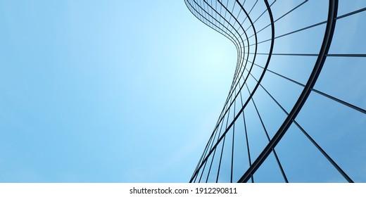 Niedrige Sicht auf futuristische Architektur, Wolkenkratzer des Bürogebäudes mit Bogenglasfenster, 3D-Darstellung.