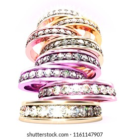 Low angle view on a stack of multi colored diamond rings. 3d illustration