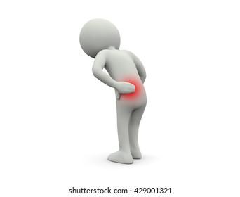 Low back pain.3D illustration