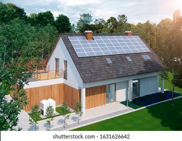 low energy ecological family home house off grid solar energy construction with green garden 3d illustration