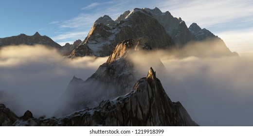 Low hanging clouds in a mountainrange with several rocky peaks standing just above the clouds (3D rendering)