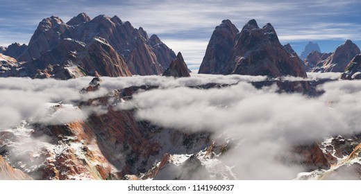 Low hanging clouds over a mountain range (3D rendering)
