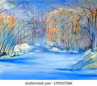Low houses and bushes in the winter Novosibirsk Academgorodok. Oil painting.