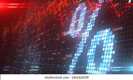 Niedriger Zinssatz bei rückläufiger Konjunktur bei rückläufigen Kapitalinvestitionen am Aktienmarkt - 3D-Illustration