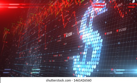 Low interest rate with economic recession in stock market financial investment decline in the dollar - 3D illustration rendering