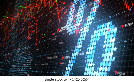 Low interest rates with global stock market down turn into a negative growth recession - 3D illustration rendering