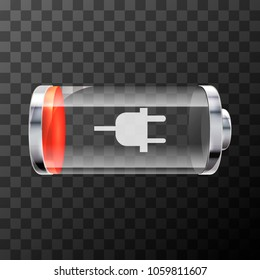 Low level bright glossy battery icon with charging symbol on transparent background