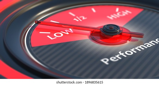 Low performance concept. Text and indicator, car dashboard speedometer close up view. 3d illustration