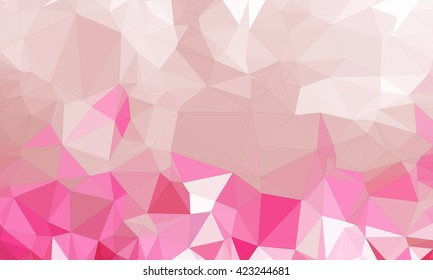 Low poly background design in geometric pattern. polygon wallpaper in origami style. polygonal texture illustration in color dark pink and light pink.