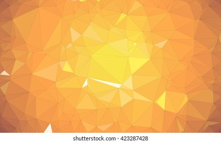 Low poly background design in geometric pattern. polygon wallpaper in origami style. polygonal texture illustration in color dark orange and medium orange and light orange and yellow