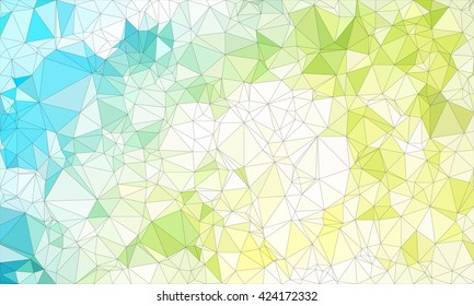 Low poly background design in geometric pattern. polygon wallpaper in origami style. polygonal texture illustration in color  light green and light blue and white.