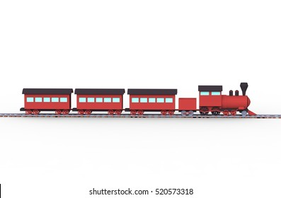 Low poly cartoon train with railroad on white background. 3d render.