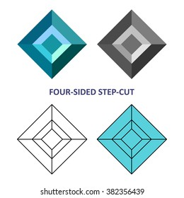 Low poly colored & black outline template four-sided step-cut gem cut icons isolated on white background