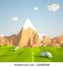 low poly desert mountain landscape