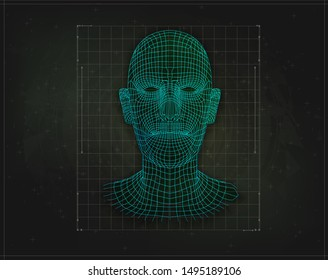 Low poly face human or humanoid. Isolated background. Technology web background