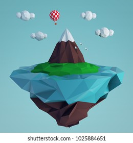 Low poly flying island with a mountain and a balloon. 3D rendering