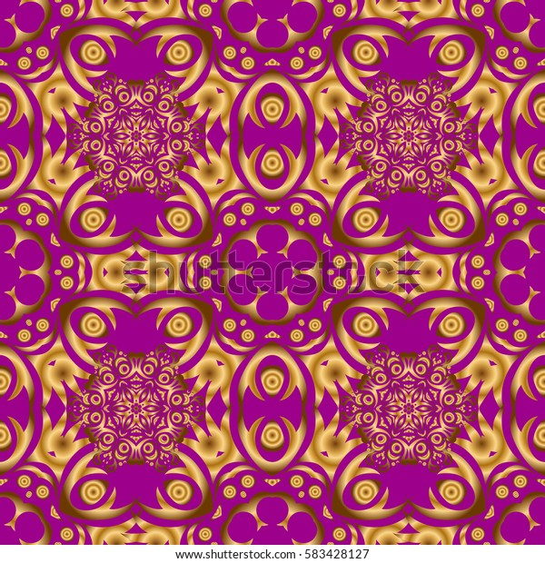 Low poly gold pattern illustration. Golden vintage seamless pattern on a purple background. Abstract golden texture.