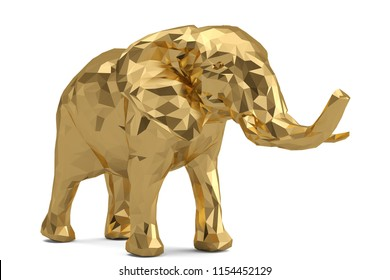 Low poly golden elephant isolated on white background 3D illustration.