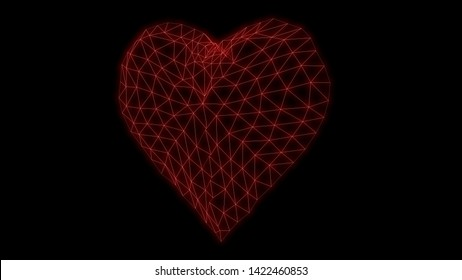 Low poly Heart Glowing neon light grid triangle grid, 80s Retro Sci-fi Cyberpunk. Retrofuturism, Synthwave, Retrowave, 3d render illustration distorted glitch