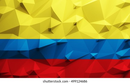 Low poly illustrated Colombian flag. 3d rendering.