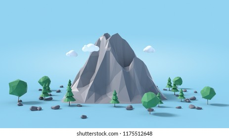 Low poly land scene with popup trees and rocks. 3D animation.