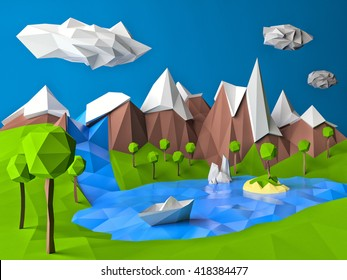 Low poly landscape with lake, island, trees, mountains and boat. Cartoon paper style landscape. High resolution 3d illustration