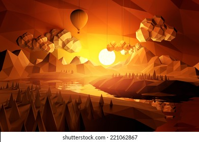 Low poly landscape with mountains and a river at sunset.