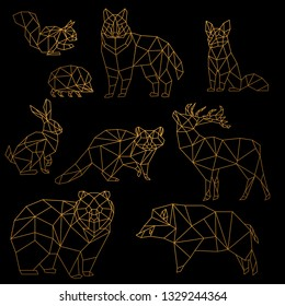 Low poly luxury golden line animals set. Origami poligonal gold line animals. Wolf bear, deer, wild boar, fox, raccoon, rabbit and hedgehog on black background.